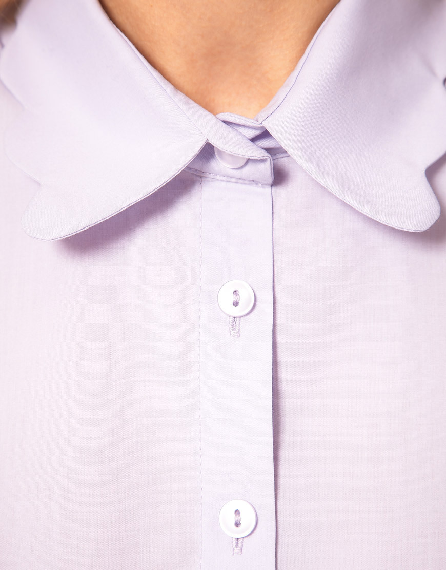 floralle:  vogueweekend:  Lilac blouse with scalloped collar by ASOS Collection  Adorable!!
