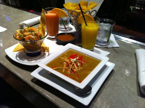 Tortilla soup foreground, ceviche background