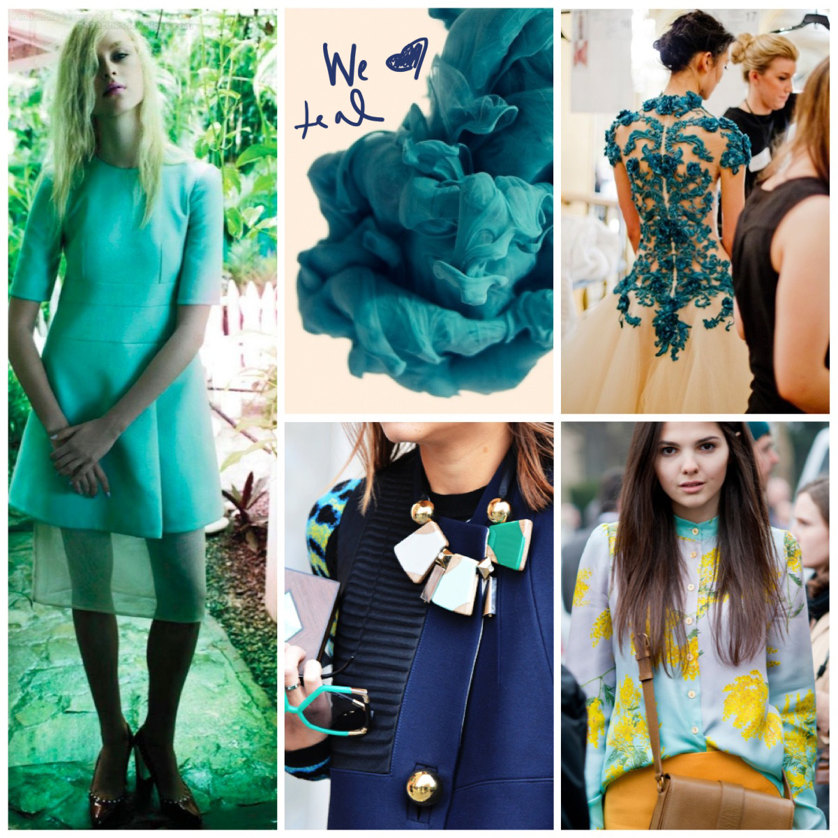 A COLOR STORY: TEAL It's not just for '80s parties anymore. Teal goes moody and dark this summer paired with magenta, royal blues and soft neutrals. A little teal goes a long way. Try it in a belt or a stacked cuff. Just lay off the teal eye shadow.  1/2/3/4/5