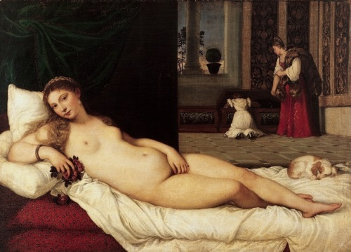 poetsandartists:Tiziano Vecellio - Venere di Urbino (Venus of Urbino), 1538, Oil on canvas, 119 x 165 cm. (46.9 x 65 in) Firenze, Galleria degli UffiziThis picture gave inspiration to Richard Wagner.kundry tempts Parsifal with the posture that laid the body (Instructions with the stage directions of Parsifal).
