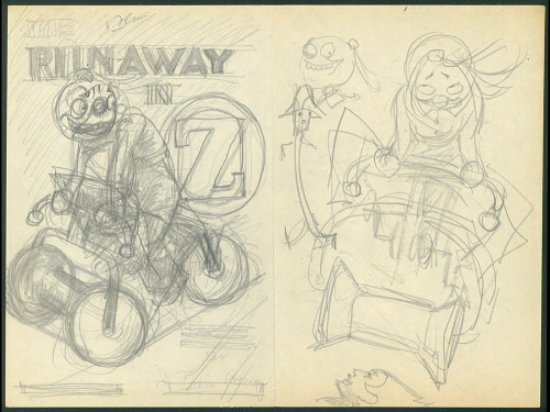 John R. Neill's preparatory cover sketch forThe Runaway in Oz, which he never finished illustrating.  In the late nineties, Eric Shanower edited the manuscript and illustrated the book.