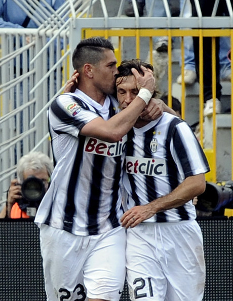 Marco Borriello and Andrea Pirlo celebrate after Juventus' second goal during the Serie A match between Novara and Juventus at the Silvio Piola Stadium on April 29, 2012 in Novara.