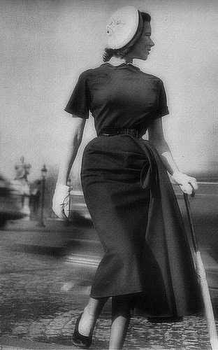 Slim panel dress, April 1949 (by dovima_is_devine_II)