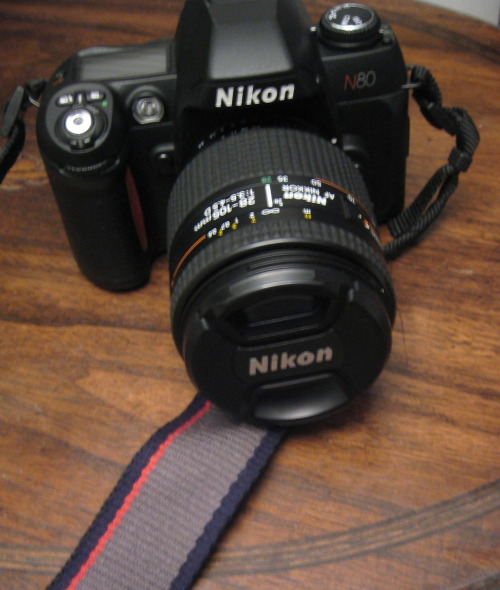 My  Nikon N80 35mm. Is going to be used hopefully tomorrow after many many years in the closet. psyched
