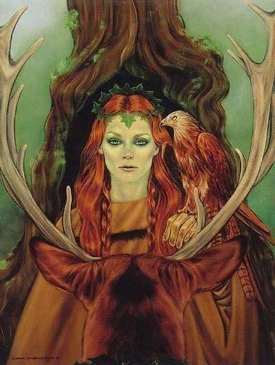 "thewitchescauldron:  Flidais She is the Celtic (Irish) Goddess of the Woodlands and wild things. Her name itself means ""doe, and she rides a chariot drawn by deer. Flidais owns herds of deer and cattle, and is equated with the Greek Pantheon's Artemis. Flidais is said to have a coracious sexual appetite. Her consort Gergus Mac Roich needed 7 human women to satisfy his sexual needs when Flidais was elsewhere. Her daughers were Fand, Be Chuille and Be Teite. 2 were considered Witches, and one was a Faery Queen. All of them were said to have sexual proclivities like their mother."