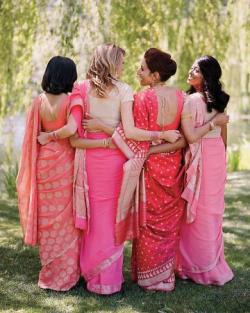 awink-and-asmile:  These hot pink saris are BEAUTIFUL bridesmaids dresses! I love the variety of patterns. With a wink and a smile, Ellie