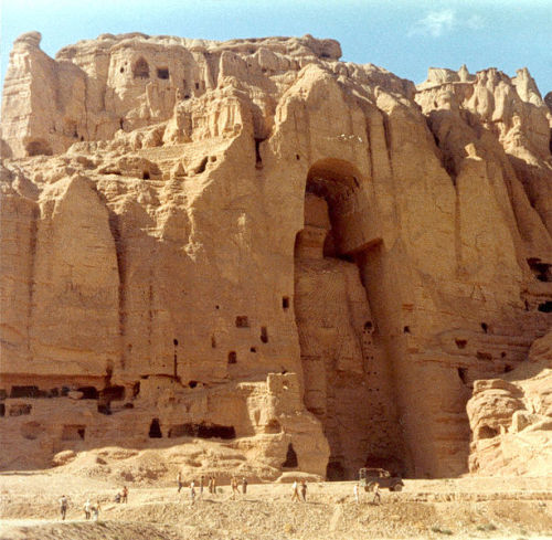Statue of the Buddha at Bamiyan, Afghanistan prior to its destruction by the Taliban.