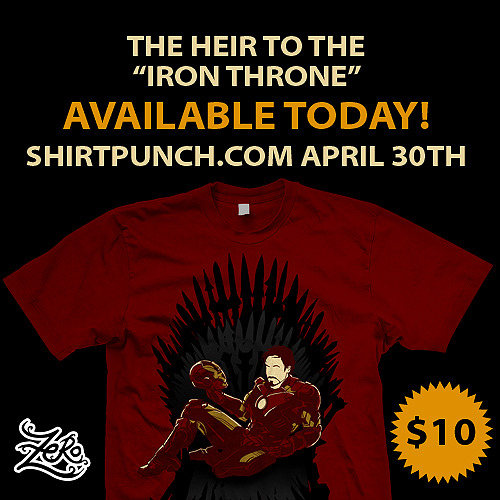 "Win! Win! Win! Tees!Simply spread the word!•Tweet: ""Iron Throne"" @ShirtPunchTees only $10 Today April 30th #GameofThrones #IronManFans #TonyStark @zerobriant •Share facebook post, like, comment •Like www.facebook.com/zerobriant•Comment at Shirtpunch.com  • Reblog this :DWinners will be announced within the first 12 hours :D Cheers! :)"