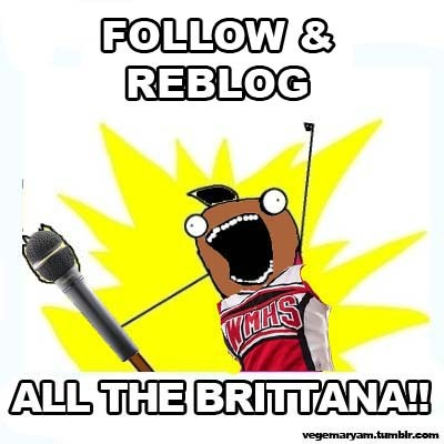 FOLLOW ALL THE BRITTANA. Seriously, if you ship Brittana, I wanna follow you!