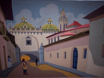 Quito, Ecuador My grandma owns a lot of Ecuadorian and Latin American folk art.  She received most of it from artists in my family, but a good bit of artwork has come her way from grateful visitors, as she has always opened her home to travelers.  She has accumulated many pieces over the years, and this is a picture of one of my favorites.  It's made out of felt.