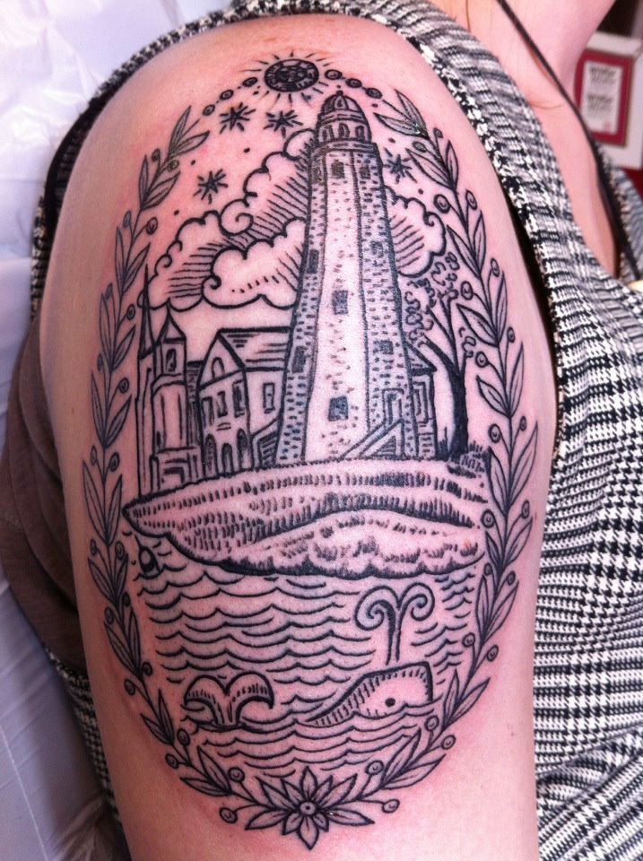 fuckyeahtattoos:  This is my second tattoo. Its a sort of scrimshaw and antique engraving mix. For me it represents many things including my enthusiasm for history and the history of New England in particular, my sense of belonging to an amazing community in Portland, my appreciation for tradition and civic participation, and an emotional connection with the sea as a place of renewal. The buildings in the center are based on a late nineteenth-century post card depicting the Portland Observatory, the old Fire Barn, and the old St. Lawrence Church on Munjoy Hill in Portland, Maine.