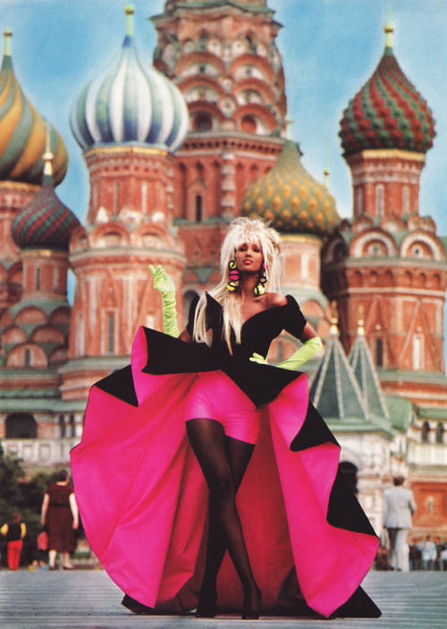 somethingvain:  Thierry Mugler S/S 1988, Iman in Russia by Thierry Mugler