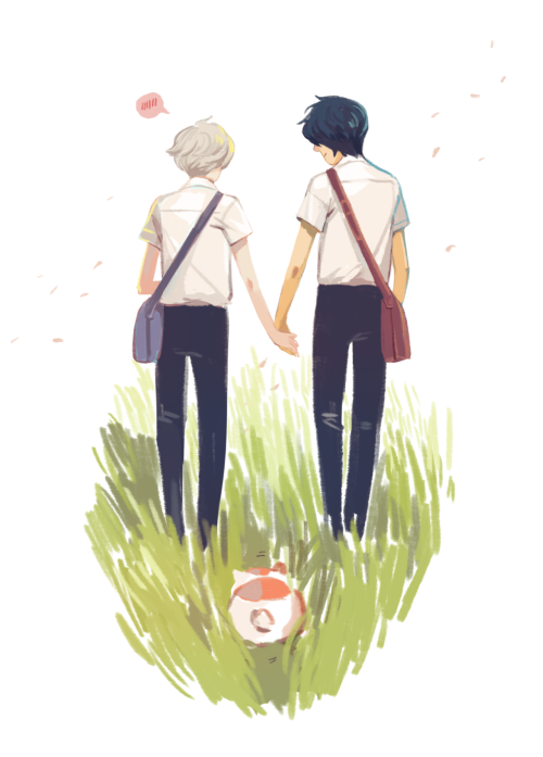 #reblogging for beili, #look! it's Natsume Yuujinchou!, #fanart, #I don't ship it, I ship Nyanko/Natsume foreva!