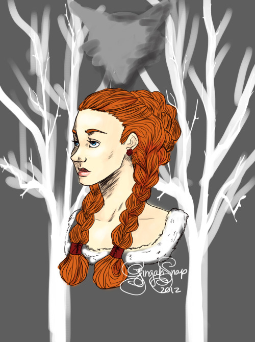 All I have are doodles. :( Because I can never finish anything. Sansa's not my favorite, but I made this doodle in class and I actually liked it so that is what this is.