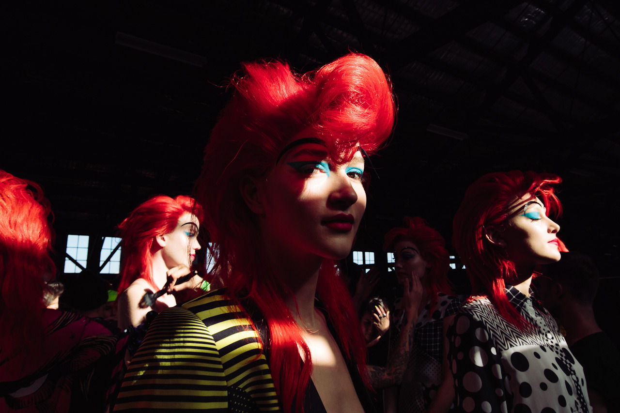 Backstage at Romance Was Born's show that opened fashion week this morning.  More to come.