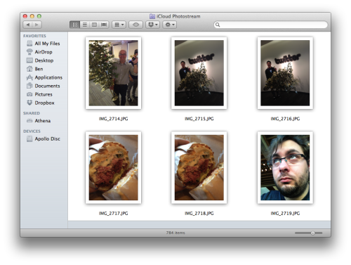 "Accessing your iCloud Photostream on a Mac  iCloud's Photostream feature is neat. All the photographs and screen grabs I take with my iPhone or iPad are shared between the devices automatically. But getting to them on the Mac is more complicated, and if you're approaching it from a pure product perspective it appears that you have no choice but to use iPhoto to get to the images on a Mac. Turns out this isn't true. Hunting for options, I found a Mac OSX Hints thread about finding the underlying iCloud sync location on disc, and automatically copying the files elsewhere so you can use them in Finder, or import into some other app. Read that thread if you like, but the most useful comment is the last one, by Joh:     Just use a saved search in Finder      A few nice ideas here, but the most simple way to get easily at your Photo Stream without iPhoto is to create a smart folder (saved search) in Finder with kind JPEG in the assets/sub folder. Easily accessible from the side bar, with preview icons and everything. You can even set sorting order and display type there and it will stick.   To extrapolate that into a handy step-by-step, here's how to get your Photostream in Finder:  Open Finder, hit ⌘⇧G, or hit Go: Go To Folder… Enter ~/Library/Application Support/iLifeAssetManagement/assets/sub. Hit Enter. You're now looking at the internal location where all the Photostream content gets synched to. It's a load of hashed directories, and within them are eventually the files themselves. If you do use iPhoto to manage Photostream, it copies new files into your library from this place.  Now that you're in the right place, hit ⌘F to open the search interface. You don't need to enter a search term. Make sure that the search is focused on ""sub"", and not ""This Mac"", and then in the first Smart Search option, from the three drop-downs choose Kind is Image JPEG. Now you're seeing all your Photostream photos. Hit Save in the search interface, save the search as a Smart Folder in your Pictures directory, or wherever you like. You can now use this folder to access Photostream without importing into iPhoto first, and can use it to import into other apps such as Lightroom. You can repeat the process, but choose a file type of PNG instead of JPEG, and create an equivalent Smart Folder for iOS screen grabs.  One of the other comments in the thread suggests you might still need to have the newest version of iPhoto to have the synching functionality in the first place, but since I have it already, I can't vouch for the functionality without."