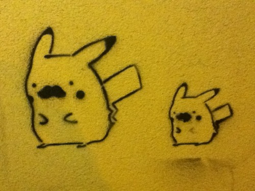 pikarar:  pechaberrypie:  PIKARAR, LOOK! These Pikachu were spray painted on the outside wall of one of my college's (University of California, San Diego) major lecture halls late last year, but it's gone now. There is lots of spray paint art like this scattered throughout our campus. I do not know who is/are responsible for painting them. But most get painted over sooner or later.  This is cool :D
