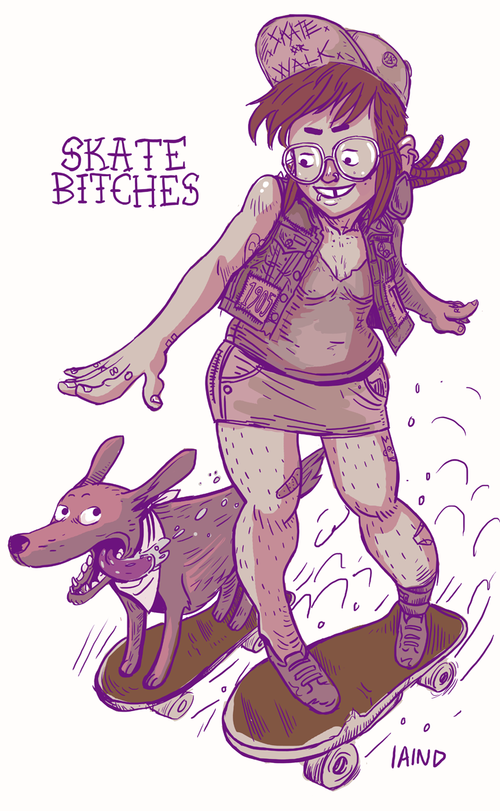 Quick Punx n' Pups inspired by the Skate Bitches trailer that's been bouncing around tumblr recently. Also inspired by those cool dogs that ride skateboards.