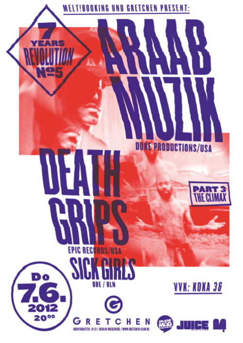 Araabmuzik, Death Grips, Sick Girls / Poster / 2012