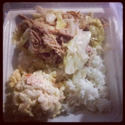 Late Night Cravings! Kalua Pig w/ Cabbage. (Taken with instagram)