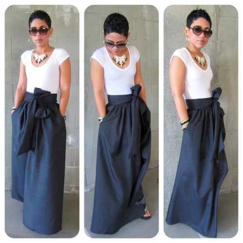 DIY Gorgeous Maxi Skirt with Wide Waistband and Sash. I know, another mini g. post - but I love this maxi skirt! She used Butterick pattern B5650 here with modifications. Butterick rates this pattern as VERY EASY.  Photos and modifications from mimi g. here. *She was taking orders for this skirt (see site and her video about it) for $145 but was flooded with orders and may not take anymore (ever).