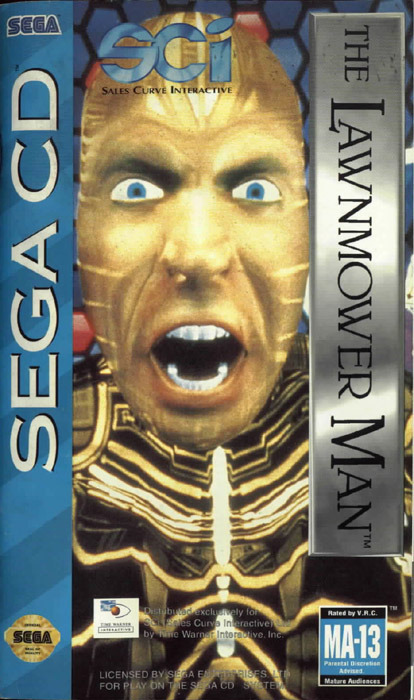 The Lawnmower Man (Sega CD, Genesis, SNES, Game Boy) Sega CD cases were so narrow, they pretty much only had room for the guy's face. Love it.