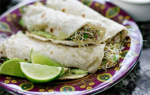prettybalanced:  Homemade Tortillas with Guacamole and Alfalfa Sprouts