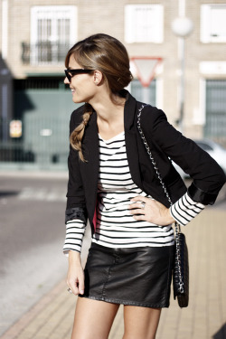 Next summer look.   glamour:  A sleek, chic way to wear your stripes.