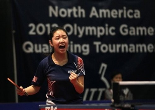 United States' Lily Zhang reacts after defeating Canada's Anqi Luo in a women's final of the North America Olympic Games table tennis qualifying tournament in Cary, N.C. , Sunday, April 22, 2012. Zhang qualifies for the Olympics with the victory. (via Photo from AP Photo)