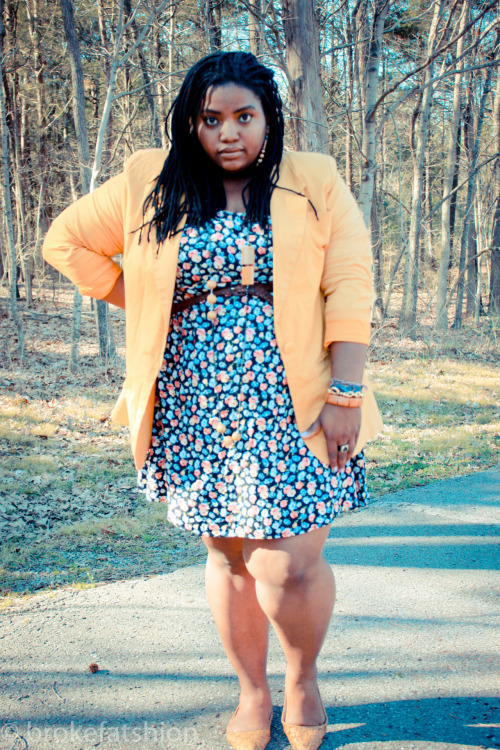 Mustard Flowers in the Forrest: completely thrifted outfit blazer,dress,belt all $.99 and shoes $1.50