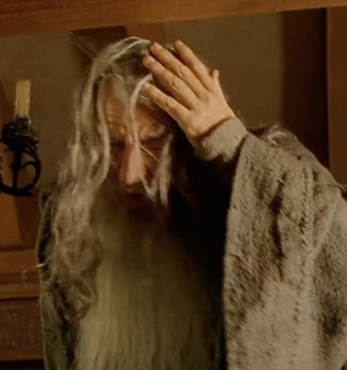 "triviaofthering:  In The Fellowship of the Ring, Gandalf's painful encounter with a ceiling beam in Bilbo's hobbit-hole was not in the script - Ian McKellen banged his forehead against the beam accidentally, not on purpose. But Peter Jackson thought McKellen did a great job ""acting through"" the mistake, and so kept it in."