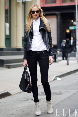 elle:  Street Chic Daily Heather Marks wears a Yigal Azrouel jacket, Tripp jeans, Rag & Bone boots, Ray-Ban sunglasses, and a Givenchy bag in New York City. Photo: Adam Katz Sinding/Le 21ème Arrondissement