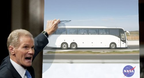 "NASA Announces Plans To Put Man On Bus To Cleveland  ""For almost as long as our nation has existed, man has gazed upon a map of the eastern United States and dreamed of traveling to Cleveland, the largest metropolitan area in Ohio,"" NASA administrator Charles F. Bolden, Jr.  More."