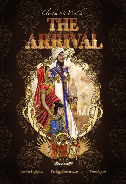 "amylinesandcolour:  ""The Arrival"" is a graphic novel that is the first of three installments by The Clockwork Watch group. It's from the viewpoint of Janav, a young boy from India whose family have travelled to England where his father, a clockwork mechanisms genius, will work on advancing technology.The sneak peak pages I've seen have me excited and I can't wait to get my hands on one! Click to go to the main Pre-Ordering and Information page!"