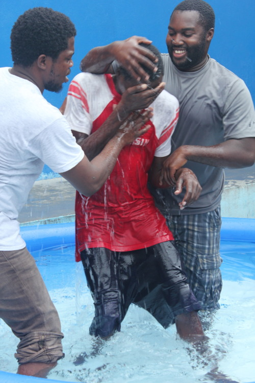 """Pic of the Day"" #20 Last week we visited the prison in Arcahaie and baptized 41 guys! God has been working in some crazy ways! Its hard to comprehend all the things He's doing. I'll be posting baptism pictures for the next couple weeks!"