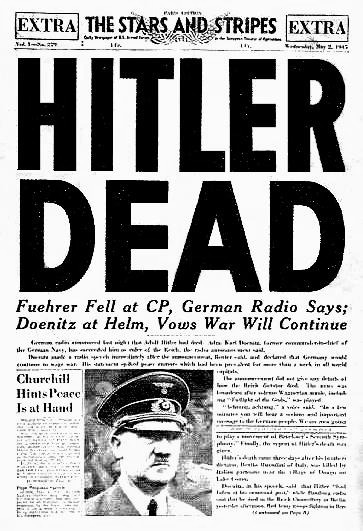 On this day in 1945, Adolf Hitler committed suicide.  En ce jour de 1945, Adolf Hitler se suicidait.