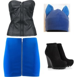 ^^ by shilky featuring a blue hatH M short skirt, £7.99Camilla Skovgaard black booties, $549Blue hat, $15