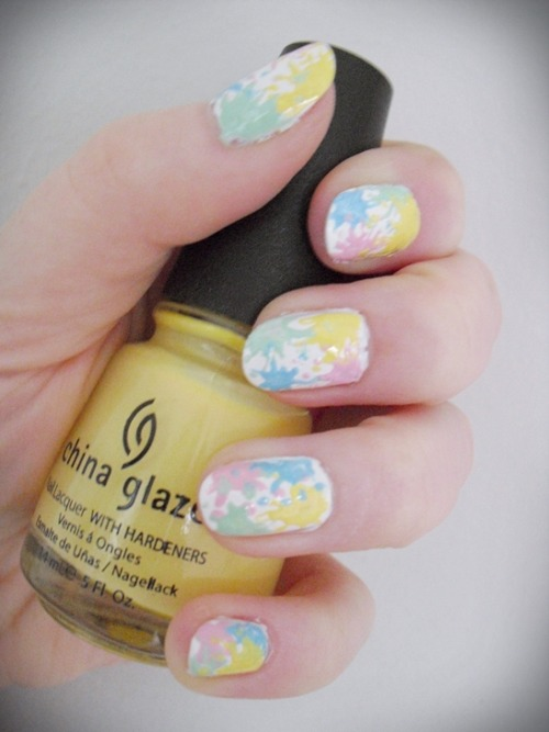 Pastel splatter nails :)