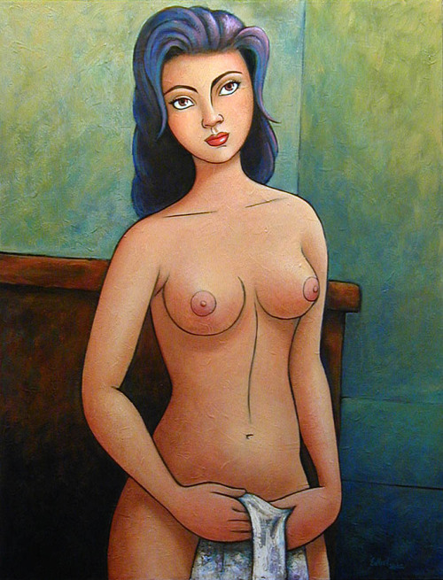 Hispanic girl 20 x 28 inches acrylic on canvas 2002private collection