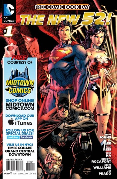 "drewtos:  The New 52 Free Comic Book Day Edition  Get an exclusive look at what's happening at DC in 2012 - Featuring art by legendary illustrator Jim Lee and other top talents, DC Comics - The New 52 FCBD Edition will include a new story by New York Times bestselling writer Geoff Johns. There will also be preview material from DC Comics - The New 52 ""Second Wave"" titles, including Batman Incorporated, Dial H, Earth 2, G.I. Combat, The Ravagers and Worlds' Finest. (FreeComicBookDay.com)  To anyone in the NYC area on Saturday, click the pic or Facebook link below for more info on Free Comics Book Day at Midtown Comics. (via FreeComicBookDay.com, Midtown Comics' Facebook)"