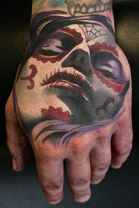 Sugar Skull. Gorgeous Day of the Dead/Sugar Skull hand tat by London-based tattoo artist Kamil.
