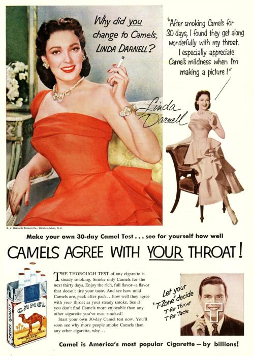 """The thorough test of any cigarette is steady smoking"" Newsweek, 1952"
