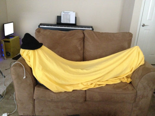 Me as a banana. After the hectic weekend I've had, sometimes it's nice to just curl up and be fruity.