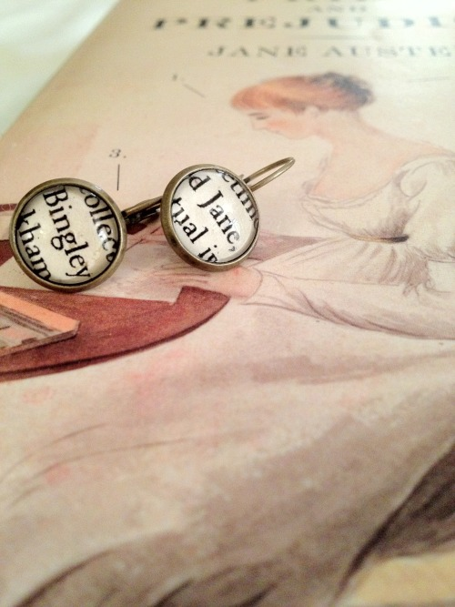 Jane Bennet and Mr. Charles Bingley EarringsView the listing here!   Etsy ShopFacebookTwitter Take 10% off your entire purchase with coupon code TUMBLR10 :)