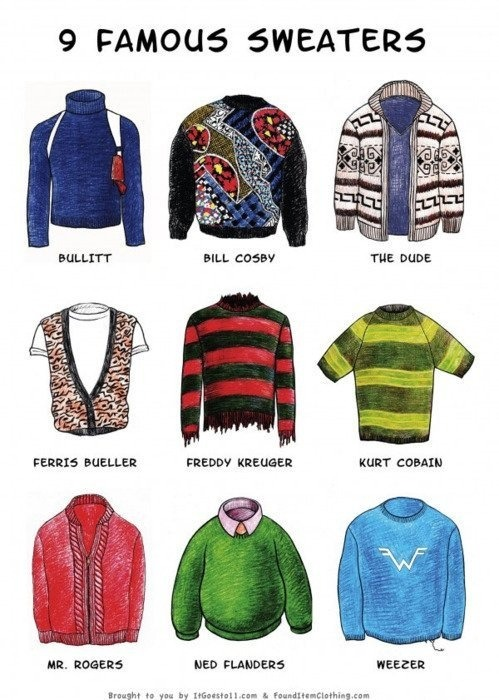 theblueboxboy:  9 Famous Pop Culture Sweaters