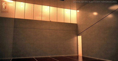 titanic-lost-in-the-darkness:  Titanic's first class Squash Court. The room extended between two decks, with the entrance and playing level on G Deck, and a spectator gallery (the large windows at the top) on F Deck. Modeled by Matthew DeWinkeleer. Follow Titanc: Lost in the Darkness for more.