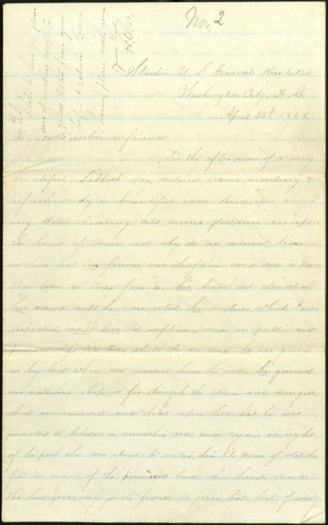 "Letter, To: ""My gentle unknown friend"" From: Henry O. Nightingale, April 30, 1865. In this letter to an unnamed friend, Henry O. Nightingale, a soldier in the Union Army, reflects on the assassination of President Abraham Lincoln in April 1865.  We know not the virtues of a friend, or do not prize them as we should until that friend is gone. I agree with you entirely. I had learned to love him, for he was eminently the Soldiers friend. So just, forgiving, unsuspecting. When the sad news of his Assassination reached us, we had all retired. It seemed like an the sudden opening of a musket battery, we could not believe it. But morning came, bells sounded forth the solemn toll for his departed spirit, + sadness, grief, frenzy, seized us all. Men who had stood before the enemy, their comrads falling around them without shedding a tear wept. Great tears coursed down the cheeks of all. Then for the first time did I understand my comrads. Then I knew who were true. Then I discovered the great affection for ""good Old Abe"" concealed in the hearts of my fellow Soldiers.  Nightingale was actually one of the last people to see President Lincoln alive. He obtained Lincoln's autograph on the afternoon of April 14:  I, the afternoon of the fatal day, had the pleasure of seeing the departed one, my object in going to see him was to get his Autograph in my Album. He, the President took it and wrote with his own hand several lines. I looked in admiration upon the man whose energy, had preserved us, little thinking that before morning he would be a bleeding corpse. One week ago Thursday last I looked upon all that remained of him, as he lay in State in the Capitol. I will not attempt to describe my feelings. You can imagine what they were. I felt as though my best friend had gone, and turned away to weep.  Click through to view the full letter. For easier reading, you can access a transcription of the letter under the ""Docs"" tab to the left of the images."