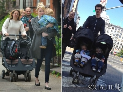 Andrew Garfield and Emma Stone enjoyed this past weekend with family and friends. The couple hung out with Andrew's brother Ben and his kids on Saturday (April 28). Andrew and Emma seemed to be naturals with the babies. On Sunday (April 29), the couple were spotted hand in hand on their way to Whole Foods in New York City. The Spider-Man stars pick up groceries before they headed back home in a taxi. It's nice to see a young Hollywood couple just being a couple. They're so the anti- Kim Kardashian and Kanye West. I wouldn't expect you to see Emma wearing A and W earrings (with her hair swept to the side) anytime soon. These photos are too cute not to check out!  Click here to launch the gallery!