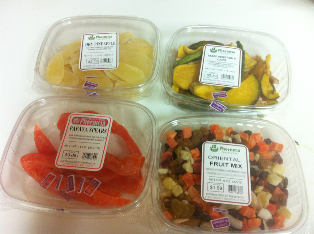 Snacks for the week! Dried fruit and veggie chips