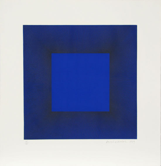 Richard Anuszkiewicz Title: Midnight Suite (Blue with Black) Year: 1979 Medium: Intaglio Etching with Aquatint on Somerset, signed and numbered in pencil  Edition: 95 Image Size: 21.6 x 21.6 inches  Paper Size: 31.25 x 30.2 inches